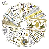 JAMSWALL Tattoo Metallic Temporary Tattoo Fashion in Gold Silver Sticker Body Art Boho Tattoo 15 PCS