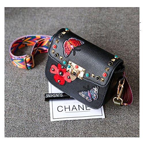 Umily PU Leder lässig Schultertasche Messenger Bag und Schultergurt aus farbigem Stoff 19-35 inch Strap-Rosa Schwarz