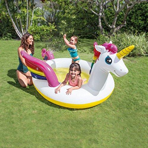 Einhorn - Babypool / Baby Pool / ca. 272 x 193 x 104 cm - Babypool Baby Pool Planschbecken Kinderpool Pool Kinderplanschbecken Schwimmbecken Baby-Pool Planschbecken - mit Sprüh Funktion