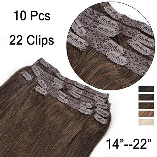 (35cm-55cm) Clip In Extensions 10 Teiliges SET 120g 100% Remy Echthaar für Komplette Haarverlängerung glatt Haarteile (4#, Mittelbraun, 35cm)