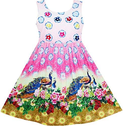 Sunboree Mädchen Kleid Chinesisch Pfau Pfingstrose Blume Kreis Muster Gr.104 (Pfau Kleider Für Mädchen)
