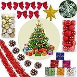 YiRAN 51 TLG Set Weihnachtskugeln Baumschmuck Weihnachtsbaum Tanne Baum Kugeln