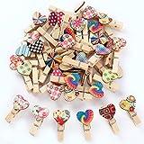 Anladia Lot de 50 Mini Pinces à Linge en Bois en Forme de cœur Multicolore