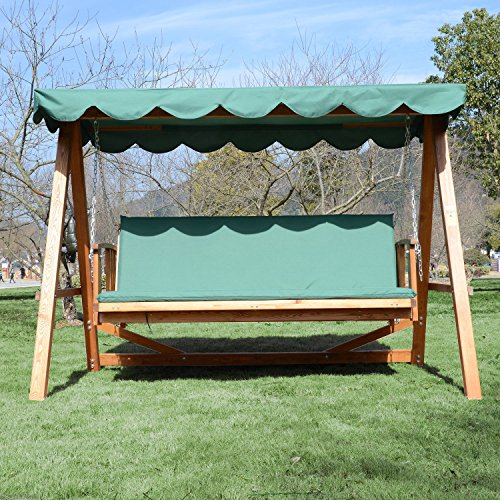 Outsunny Deluxe 3 Seater Wooden Garden Outdoor Swing Chair Seat Hammock Bench Furniture Lounger Bed Wood
