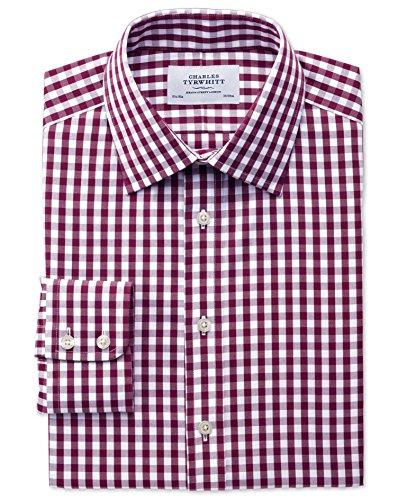 Bügelfreies Classic Fit Oxfordhemd in beerenrot mit Gingham-Karos beerenrot (Knopfmanschetten Cuff)