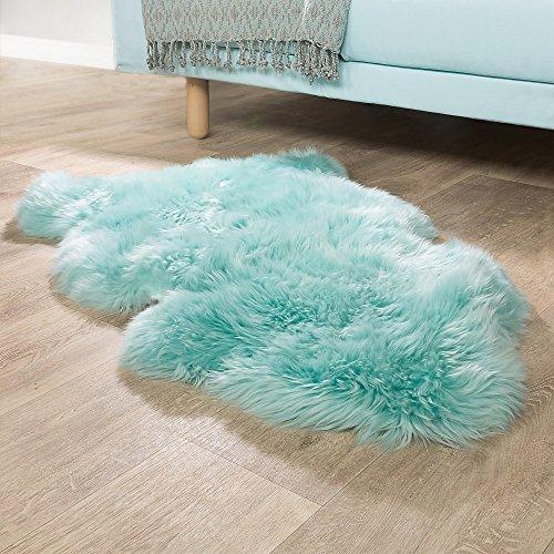 Paco Home Australisches Lammfell Naturfell Bettvorleger Echtes Schaffell In Pastell Türkis, Grösse:100x68 cm