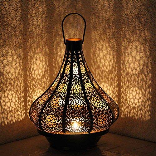 Orientalische Eisenlaterne Jadoo 30cm indisches Windlicht Laterne mediterrane Gartenlaterne Orientlampe Gartenwindlicht Metall (schwarz/innen gold)
