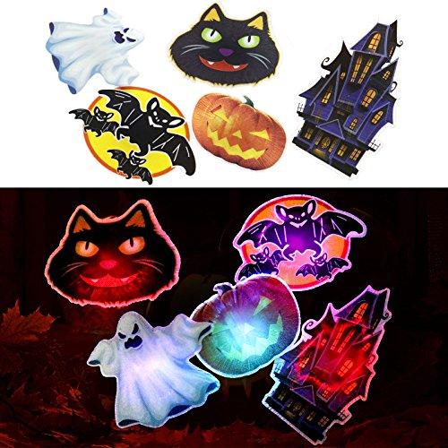 5tlg Halloween Geist Kuerbis Fledermaus Katze HAIR CLIP Haarreif LED Licht Deko (Raum Geist Kostüm Kind)
