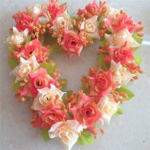 imulation Blume Herz Kranz Künstliche Rose Herz Girlande Hochzeit Hauptdekor-Sonnenuntergang Rot (Rote Herz Kranz)