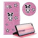 Glitzer Strass Brieftasche für Galaxy S10 Plus,Rosa Leder Handyhülle für Galaxy S10 Plus,Moiky Luxus 3D Magnetisch Kristall Niedlich Panda Blumen Diamant Hülle mit Kartenfächer Ständer
