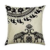 hengjiang Kissen braun pink grau Artistic Animal Elefant Gemälde 120g Dicke Baumwolle Leinen doppelseitig 45,7x 45,7cm 45x 45cm Überwurf Kissen für Home Sofa Bett Geburtstag Geschenk 17