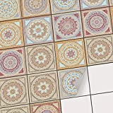 Vinyl Fliesenaufkleber | Fliesen-Dekor Folie für Bad und Küchenfliesen | Deko Fliesen-Bilder - Wände renovieren | Selbstklebende Wandaufkleber | 10x10 cm Motiv Mosaik Afrika - 40 Stück