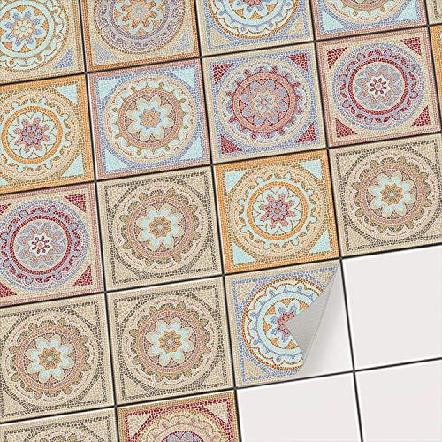 Fliesenaufkleber für Küchenspiegel und Badfliesen | Fliesenfolie - Vinyl Mosaik-Fliesen | selbsklebend, abwaschbar und rückstandslos ablösbar | 15x15 cm - Motiv Mosaik Afrika - 72 Stück