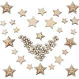 300 Piezas Madera Rebanadas de Estrellas para Decoración de Boda Manualidades Adornos Artesanales DIY 4 Tamaños 10mm, 20mm, 3