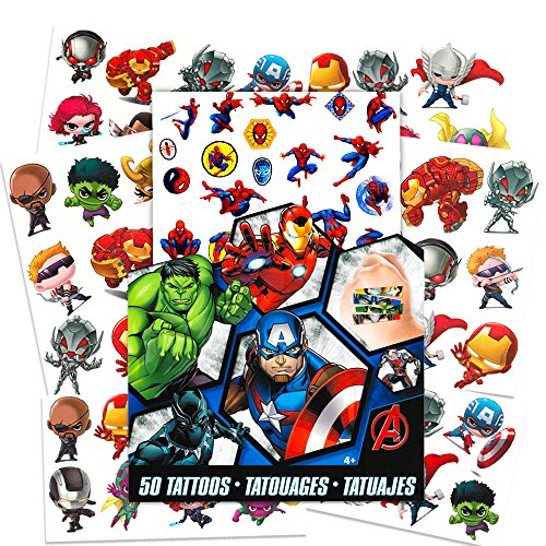 Marvel AVENGERS Temporary Tattoos - 50 Tattoos - Iron Man, Thor, Hulk, Captain America and more