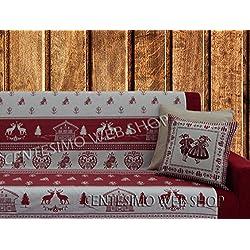 Centesimo Web Shop Telo ARREDO COPRITUTTO 2 Misure Prodotto in Italia Gran Foulard Multiuso Tuttofare COPRIDIVANO COPRIPOLTRONA - Tirolese Shabby Bianco - 160x290 cm Rosso