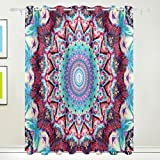 TIZORAX Psychedelic Mandala Hippie Hippie-Vorhänge Verdunkeln Isoliert Blackout Fenster Panel Drapes für Wohnzimmer Schlafzimmer 139,7x 213,4cm, Set von 2Panels