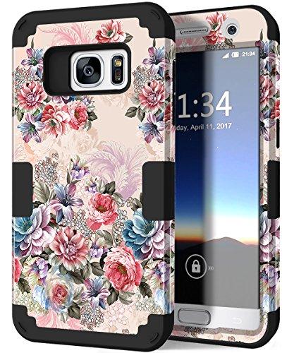 Galaxy S7Case, hocase Tropfen Schutz, Silikon Gummi Bumper + Hard Shell Hybrid-Dual-Layer Fullbody CASE Schutzhülle Handy Hülle für Samsung Galaxy S7(2016)-Peony Floral Print/schwarz (Kind Handys Att)