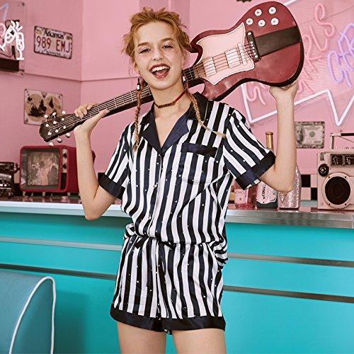 JINSHENG Silk Pyjamas Frauen Sommeranzug Kurzarm-Shorts Zweiteilige Sexy Eis Seide Streifen Sommer Dünne Hause Service XL,Navy Streifen