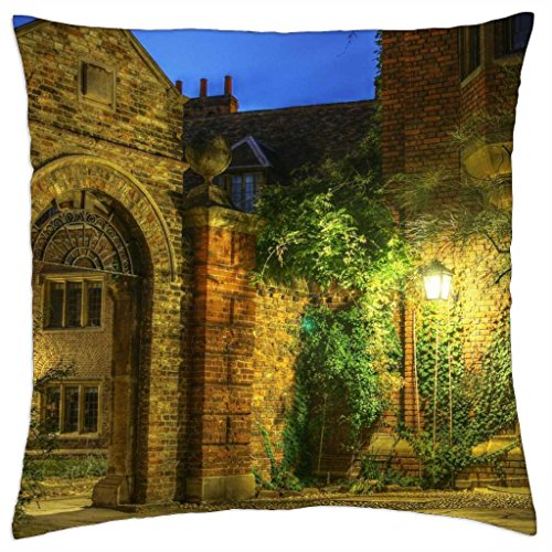 patio of a lovely manor house in evening - Throw Pillow Cover Case (18\