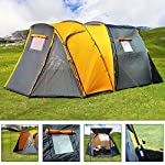 Deuba 4 Person Dome Tent Grey-Orange | Full head height (195cm), Sealed Seams, 2 Rooms, Windows, Coated/Sewn In Ground Sheet, Waterproof 185T Fabric, Incl. Carry Bag & Fireglass Poles | 500x300x195cm