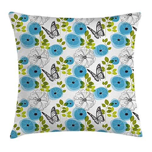 Butterfly Garden Seat (Pale Blue Throw Pillow Cushion Cover, Blue Poppies Butterfly Branches Leaves Botany Garden Nature Concept, Decorative Square Accent Pillow Case, 18 X 18 inches, Pale Blue Green White)