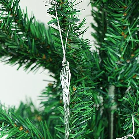 6x Ghiacciolo di Vetro Ritorti Ornamenti Ciondolo Albero Di Natale Appeso Decorazioni