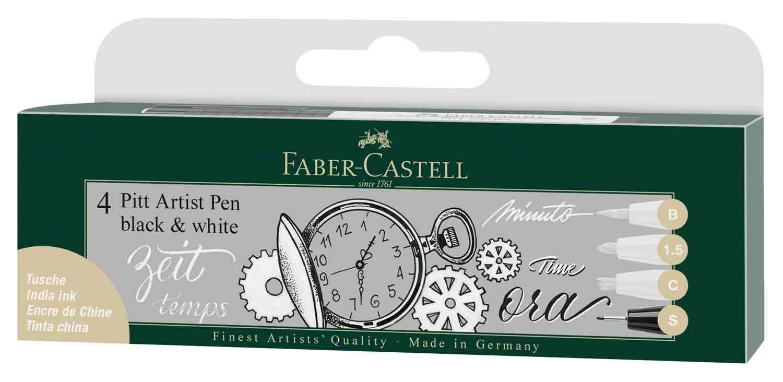 Estuche Faber PITT 4 trazos blanco-negro
