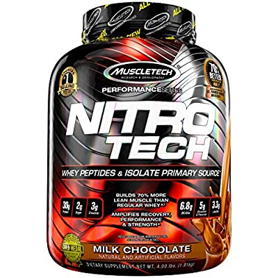 MuscleTech NitroTech Whey Protein Powder, Whey Isolate and Peptides, Milk Chocolate, 1.81kg from MuscleTech