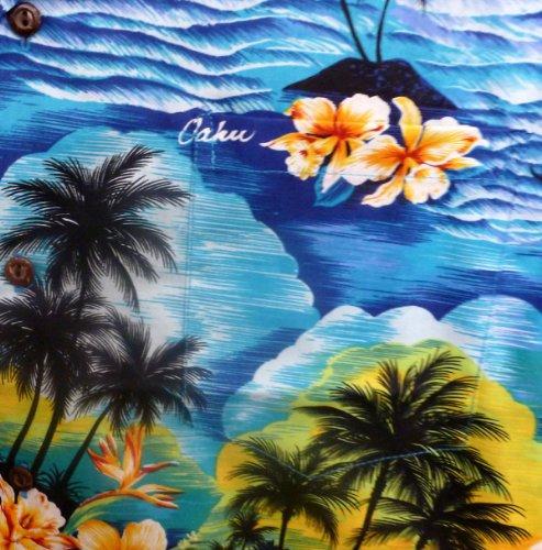 Hawaiihemd Hawaiishirt original made in Hawaii Blau