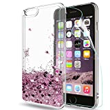 LeYi Funda Iphone 6 / 6S Plus Silicona Purpurina Carcasa con HD Protectores de Pantalla,Transparente Cristal Bumper Telefono Gel TPU Fundas Case Cover Para Movil Iphone 6 / 6S Plus ZX Oro Rosa