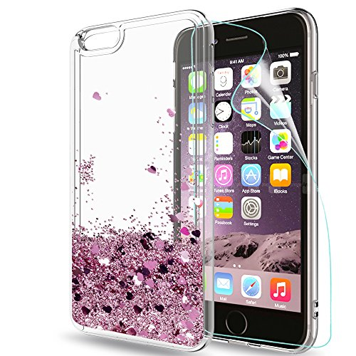 LeYi Hülle iPhone 6/iPhone 6S Glitzer Handyhülle mit HD Folie Schutzfolie,Cover TPU Bumper Silikon Treibsand Clear Schutzhülle für Case Apple iPhone 6 Handy Hüllen ZX Rot Rosegold