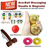 #10: Super India Store Acu-Ball Massaging Needle One Pair For Palm with 2 Sujok Rings and Wooden Face Massager-Pointed