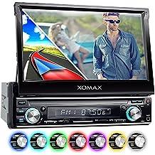 """XOMAX XM-VRSUN740BT Radio de coche / Autoradio 1DIN con Navegación GPS con Mapas de Europa (38 países) + Bluetooth Manos libres + 7 """"/ 18 cm pantalla táctil HD de resolución (800 x 480 píxeles) + 7 colores de iluminación ajustable + sin discos CD + puerto USB y SD (hasta 128 GB!) + MPEG4, MP3, WMA, AVI + Conexiones para subwoofer, cámara de vista trasera y el control a distancia del volante"""