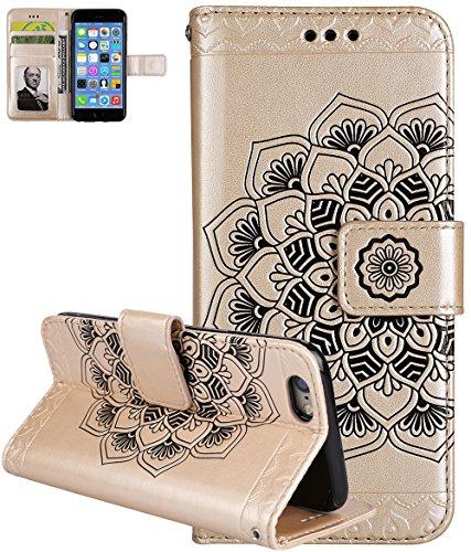 Coque Apple iPhone 6 , iPhone 6 coque silicone, Roreikes Housse Etui pour iPhone 6 nouvelle boutique Folio portefeuille / portefeuille étui en cuir PU de haute qualité cuir [impression de choc] style  Or
