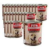 24x 400g FIT & GESUND Premiumfutter mit Wild, Nudeln und Gemüse Hundefutter, Hunde Dosenfutter Sparangebot