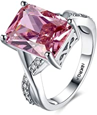 Yellow Chimes A5 Grade Crystal Pink Big Crystal 925 Sterling Silver Plated Ring for Women and Girls