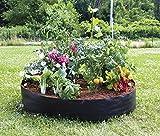 JYCRA Cama de jardín elevada, tela de fieltro transpirable, maceta para plantas, flores, verduras (redonda), tela, negro, Dia 50'' x H 12''