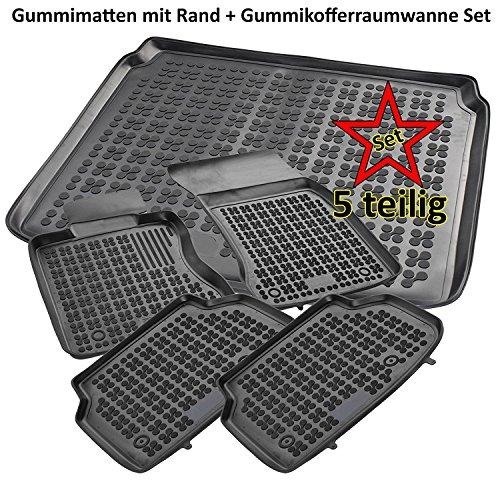 AME Set - Auto-Gummimatten Fußmatten mit Schmutzrand, Geruch-vermindert, Anti-Rutsch Oberfläche und Befestigungskit + Kofferraum-Wanne, Schutzmatte für den Ladenraum 200724RG+232134KW