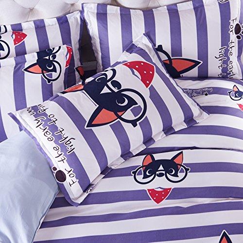 KFZ Bett Set (Zwei Full Queen King Size) [4: Bettbezug, Bettlaken, 2Kissenbezüge] keine Tröster SM Cartoon Tiere Hund Dream Kaninchen Einhorn Star Design für Kinder, Erwachsene, Microfaser, Luck Dog, Purple, Twin, 58