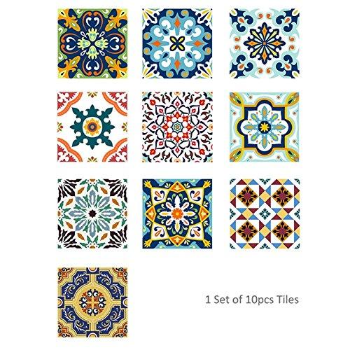 Mojidecor adesivi per piastrelle parete bagno cucina, 20x20 cm 10 pezzi, adesivi murali impermeabili decorazione da muro stile mediterraneo wall stickers per casa fai da te