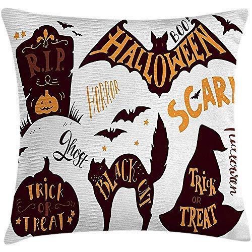 Vintage Halloween Throw Pillow Kissenbezug, Halloween Symbole Trick Treat Bat Grabstein Ghost Candy beängstigend, dekorative quadratische Akzent Kissenbezug, 18 X 18 Zoll, dunkelbraun Orange