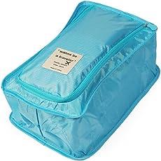 Uniquedealz Nylon Waterproof Foldable Travel Shoe Pouch (34x19x14cm, Blue)