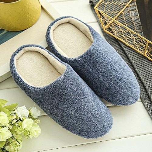 Minetom Caldo Pantofole Primavera Slippers Ciabatte Peluche Morbido Interno Casa Antiscivolo Pantofole per Donna Uomo Blu scuro