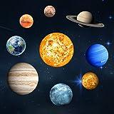 Goeco 9pcs Stickers Muraux Lumineux, 3D cool sphère lumineuse étoile fond, Neuf planète DIY décoration pour la maison, chambr