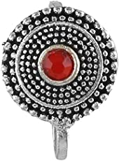 Anuradha Art Red Colour Round Shape Oxidised Finish Nose Ring Pin for Women/Girls