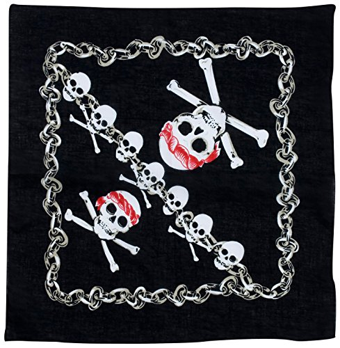 (Widmann–Bandana mit Totenkopf Pirat für Erwachsene, schwarz, 55x 55cm, vd-wdm7147K)