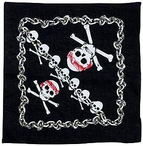 WIDMANN?Bandana con calavera pirata para adultos, Negro, 55x 55cm, vd-wdm7147K