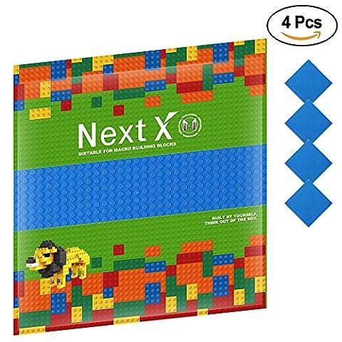 NextX 4 Stück Grundplatte für Classic Bausteine Plastik Bauplatte 25 x 25 cm - Blau (Ghostbusters Kostüm Diy)