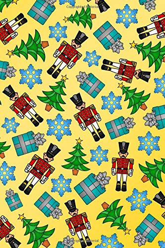 Journal: Yellow toy soldiers presents snowflakes christmas trees notebook